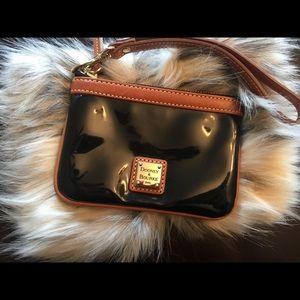 Dooney Bourke black brown wristlet like new
